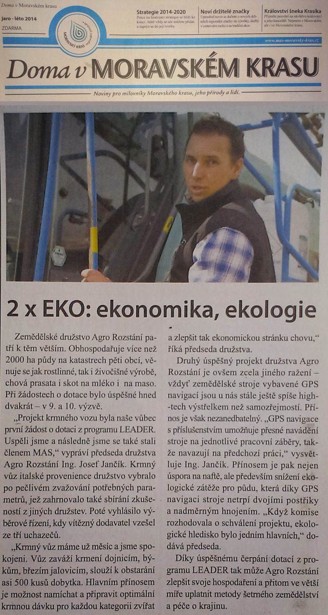 AGRO Rozstani druzstvo - clanek 2x eko ekonomika ekologie