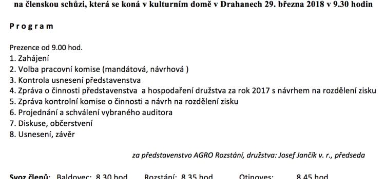 Pozvánka na na členskou schůzi AGRO Rozstání družstvo 2018