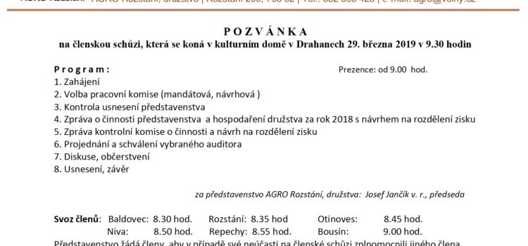Pozvánka na na členskou schůzi AGRO Rozstání družstvo 2019